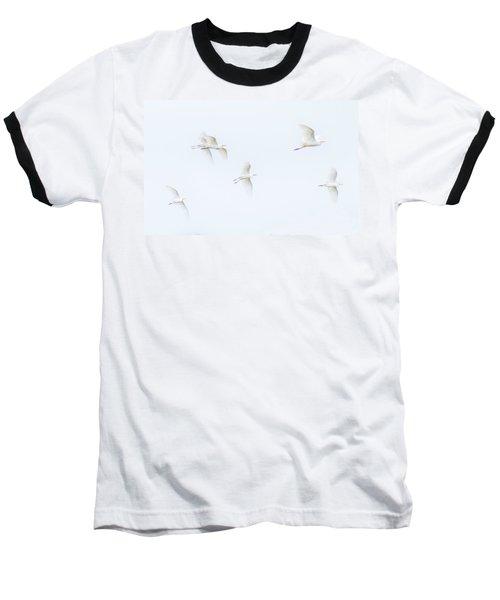 Egrets White On White Color Baseball T-Shirt