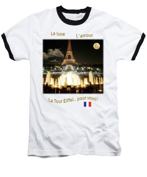Eiffel Tower At Night Baseball T-Shirt