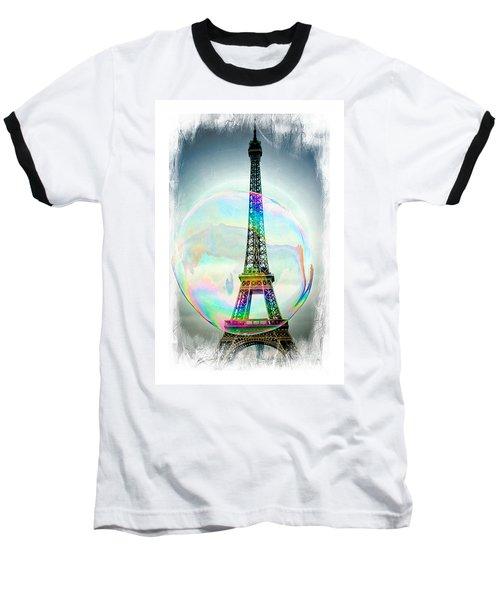 Eiffel Tower Bubble Baseball T-Shirt by Lilliana Mendez