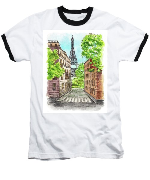 Baseball T-Shirt featuring the painting Eiffel Tower Summer Paris Day by Irina Sztukowski