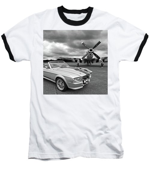 Eleanor Mustang With P51 Black And White Baseball T-Shirt