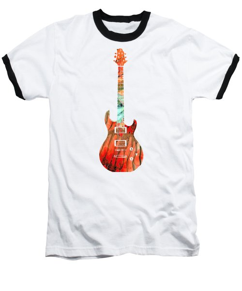 Electric Guitar 2 - Buy Colorful Abstract Musical Instrument Baseball T-Shirt by Sharon Cummings