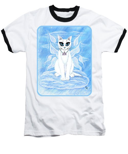 Elemental Air Fairy Cat Baseball T-Shirt by Carrie Hawks