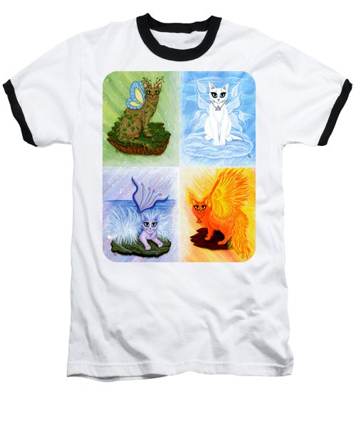 Elemental Cats Baseball T-Shirt by Carrie Hawks