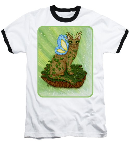 Elemental Earth Fairy Cat Baseball T-Shirt by Carrie Hawks