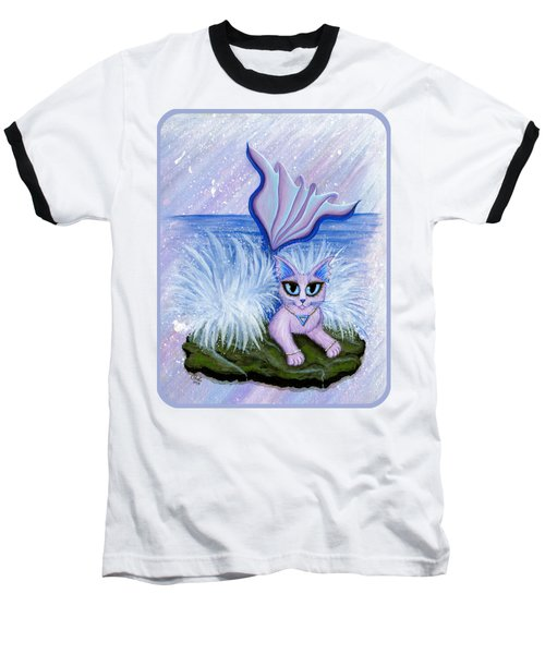 Elemental Water Mermaid Cat Baseball T-Shirt by Carrie Hawks