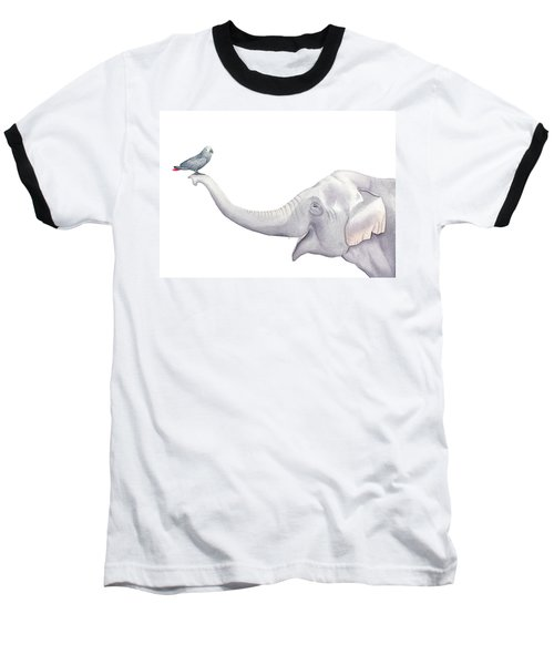 Elephant And Bird Watercolor Baseball T-Shirt by Taylan Apukovska