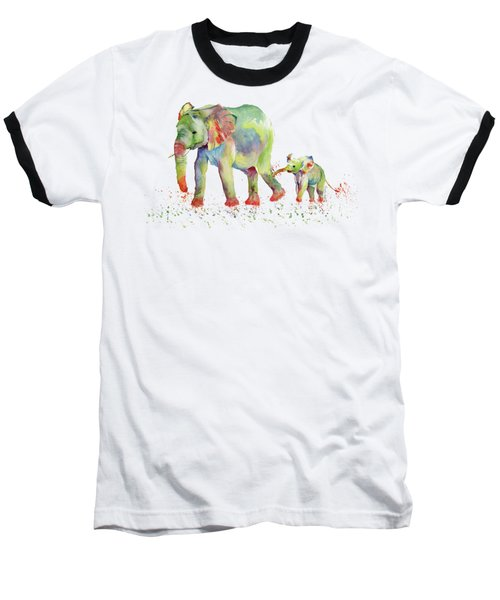 Elephant Family Watercolor  Baseball T-Shirt by Melly Terpening