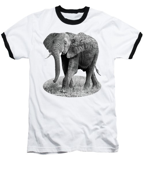 Baseball T-Shirt featuring the photograph Elephant Happy And Free In Black And White by Gill Billington