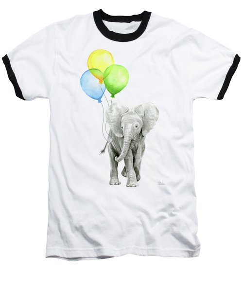 Elephant Watercolor Baby Animal Nursery Art Baseball T-Shirt