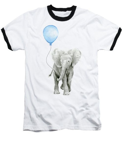 Elephant Watercolor Blue Nursery Art Baseball T-Shirt