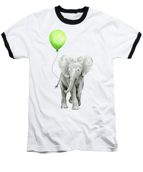 Elephant Watercolor Green Balloon Kids Room Art  Baseball T-Shirt