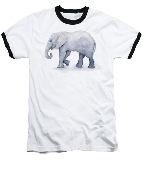 Elephant Watercolor Baseball T-Shirt