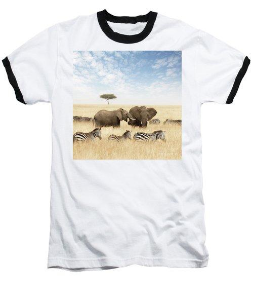 Elephants And Zebras In The Grasslands Of The Masai Mara Baseball T-Shirt