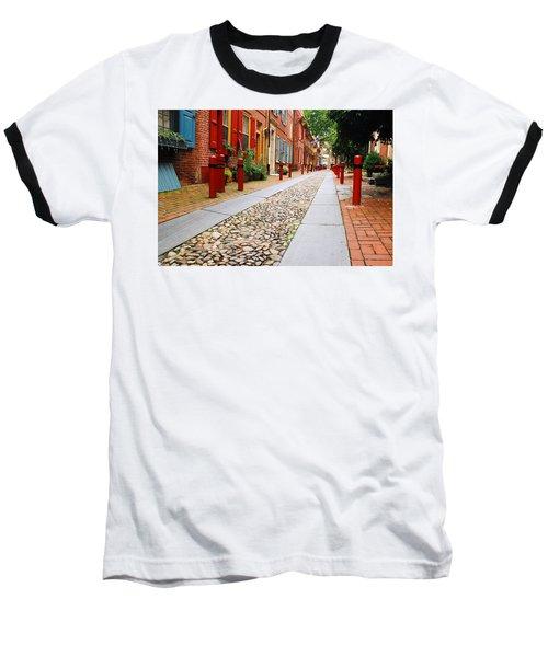 Elfreth Alley Baseball T-Shirt by James Kirkikis