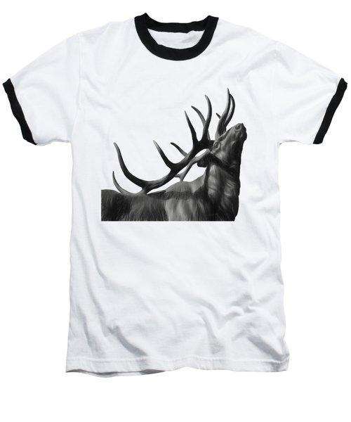 Elk In Black In White  Baseball T-Shirt