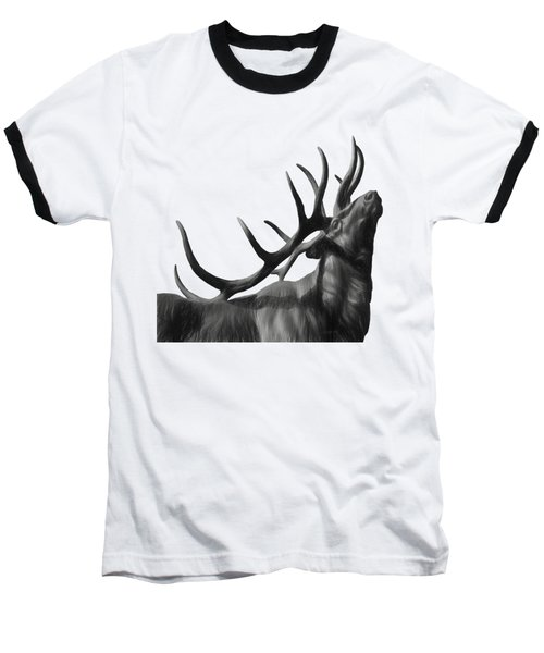 Elk In Black In White  Baseball T-Shirt
