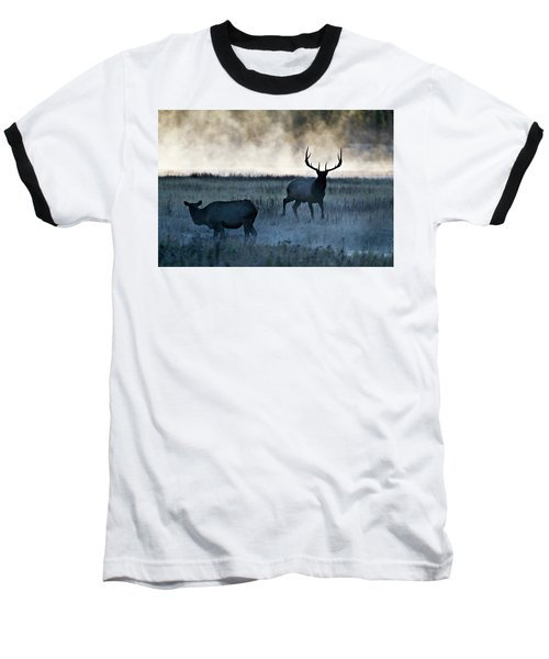 Baseball T-Shirt featuring the photograph Elk In The Mist by Wesley Aston
