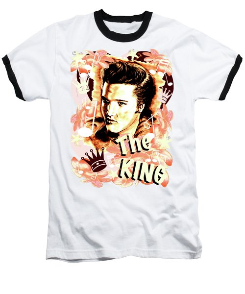 Elvis The King In Salmon Red Baseball T-Shirt