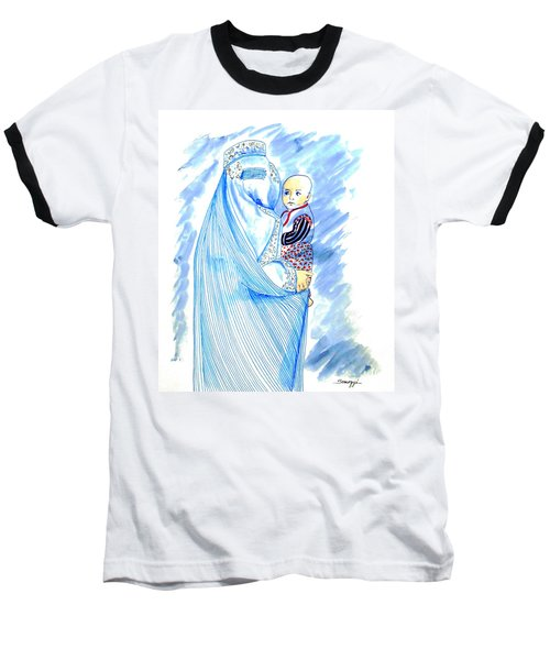 Embroidered Blue Lady-cage -- Woman In Burka Baseball T-Shirt
