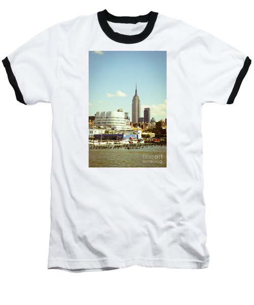 Empire State Building From Hudson Baseball T-Shirt by Perry Van Munster