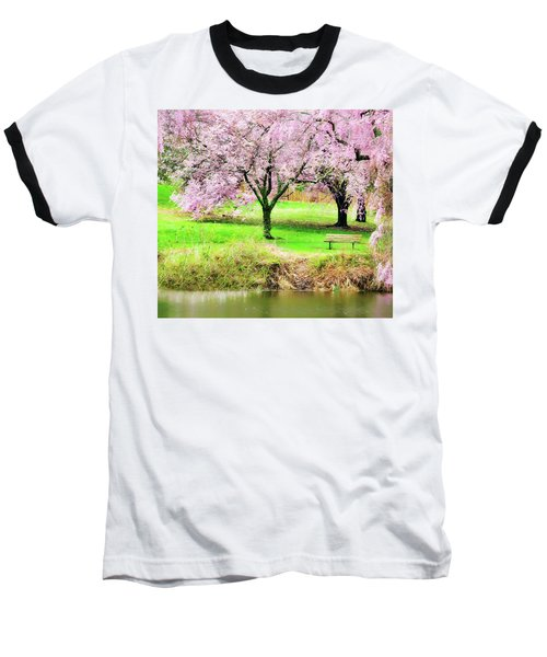 Baseball T-Shirt featuring the photograph Empty Bench Surrounded By Spring Colors by Gary Slawsky