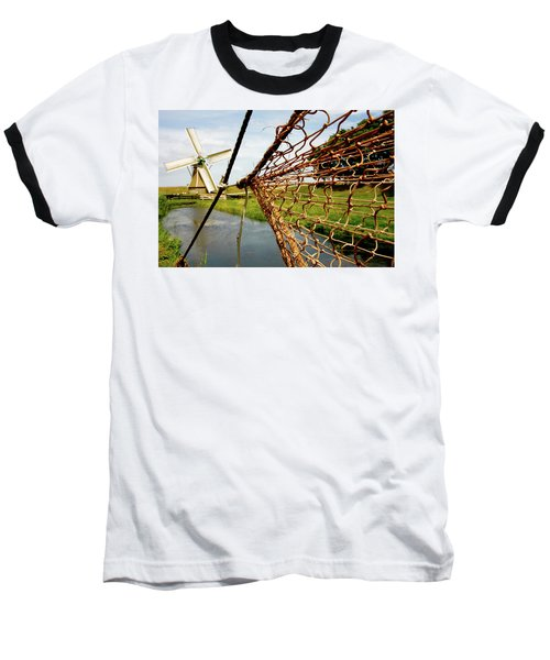 Baseball T-Shirt featuring the photograph Enkhuizen Windmill And Nets by KG Thienemann