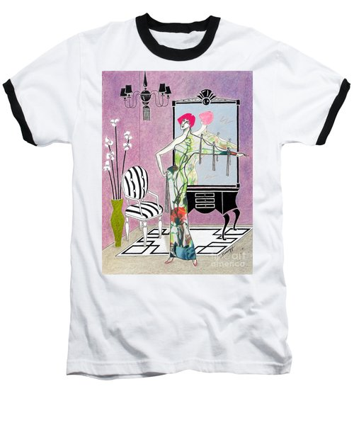 Erte'-esque -- Art Deco Interior W/ Fashion Figure Baseball T-Shirt