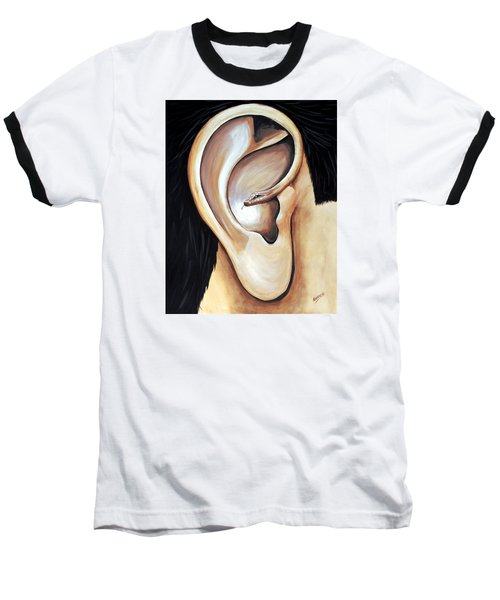 Baseball T-Shirt featuring the painting Lengua Detractora by Edwin Alverio