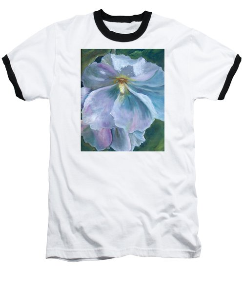 Ethereal White Hollyhock Baseball T-Shirt by Jane Autry