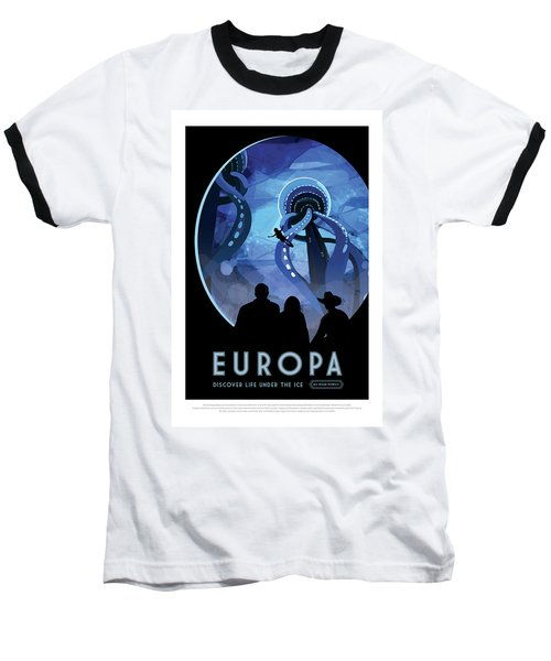Europa Discover Life Under The Ice - Nasa Vintage Poster Baseball T-Shirt