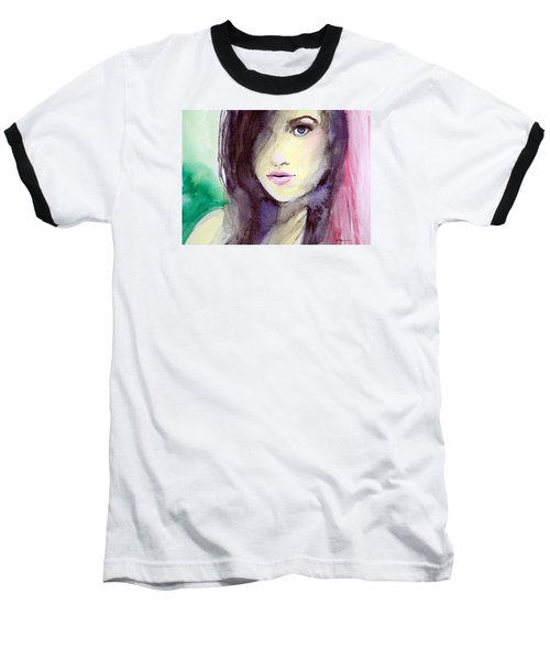 Baseball T-Shirt featuring the painting Olivia by Ed  Heaton