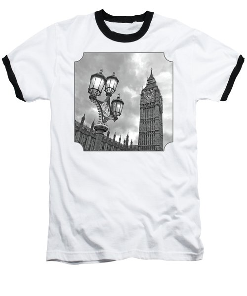 Evening Light At Big Ben In Black And White Baseball T-Shirt