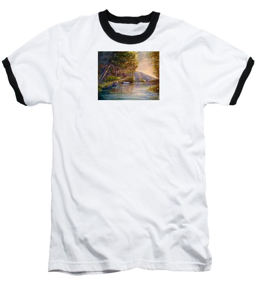 Baseball T-Shirt featuring the painting Evening's Twilight by Patricia Schneider Mitchell