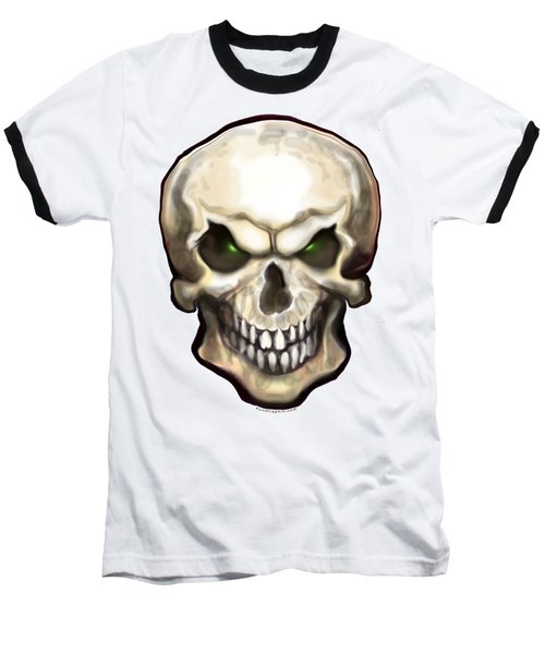 Baseball T-Shirt featuring the painting Evil Skull by Kevin Middleton