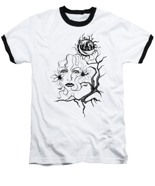 Baseball T-Shirt featuring the drawing Eye Of The Beholder by Shawna Rowe