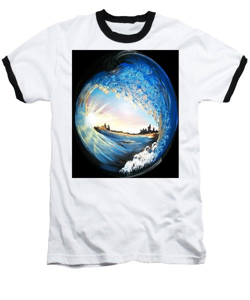 Baseball T-Shirt featuring the painting Eye Of The Wave by Sharon Duguay