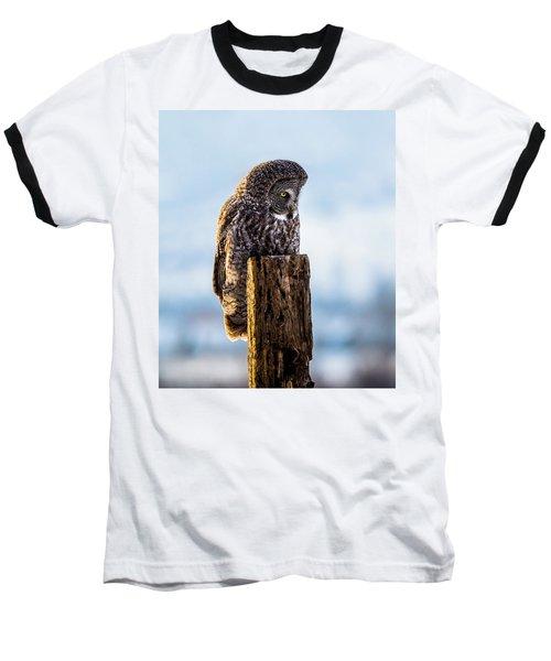 Eye On The Prize - Great Gray Owl Baseball T-Shirt