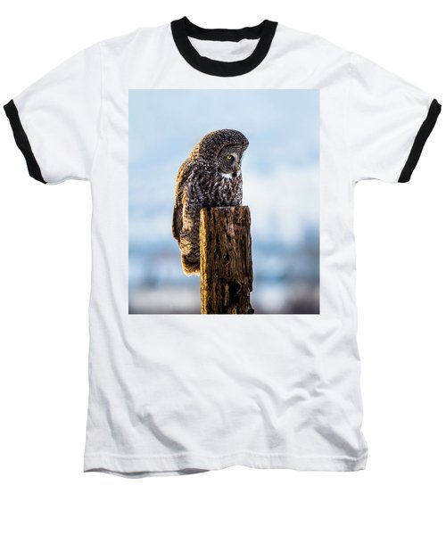 Eye On The Prize - Great Gray Owl Baseball T-Shirt
