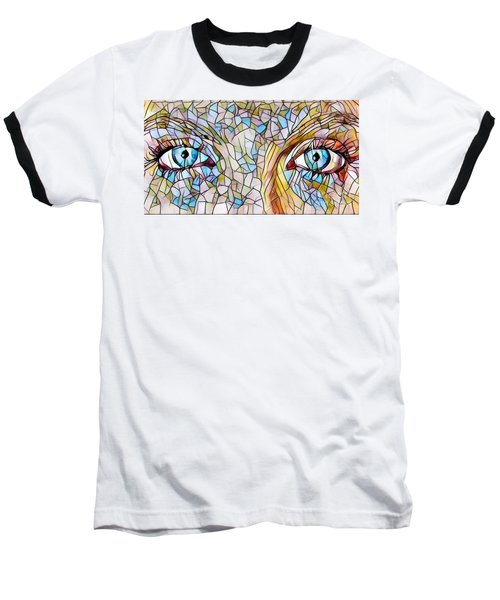 Eyes Of A Goddess - Stained Glass Baseball T-Shirt