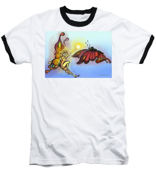 Baseball T-Shirt featuring the painting Faerie N Butterfly by Kevin Middleton