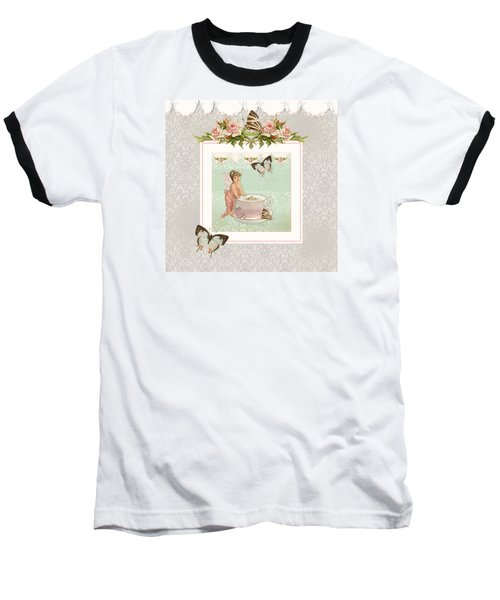 Fairy Teacups - Flutterbye Butterflies And English Rose Damask Baseball T-Shirt