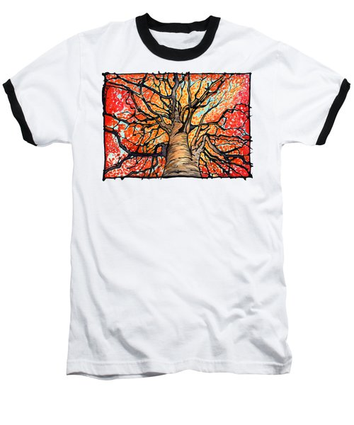 Fall Flush - Looking Up An Autumn Tree Baseball T-Shirt