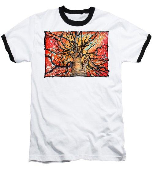Fall Flush - Looking Up An Autumn Tree Baseball T-Shirt