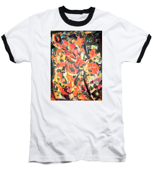 Baseball T-Shirt featuring the painting Fall Forest In Red And Black by Esther Newman-Cohen