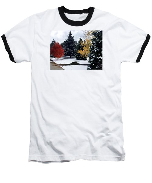 Fall Into Winter Baseball T-Shirt by Russell Keating