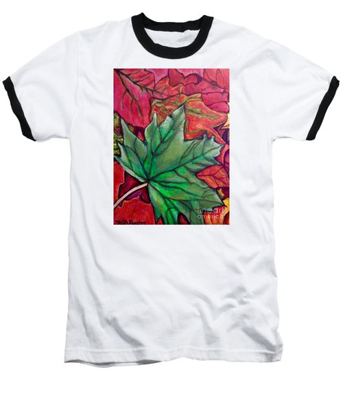Baseball T-Shirt featuring the painting Fallen Green Maple Leaf In The Fall by Kimberlee Baxter