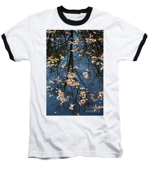 Fallen Leaves In Autumn Lake Baseball T-Shirt