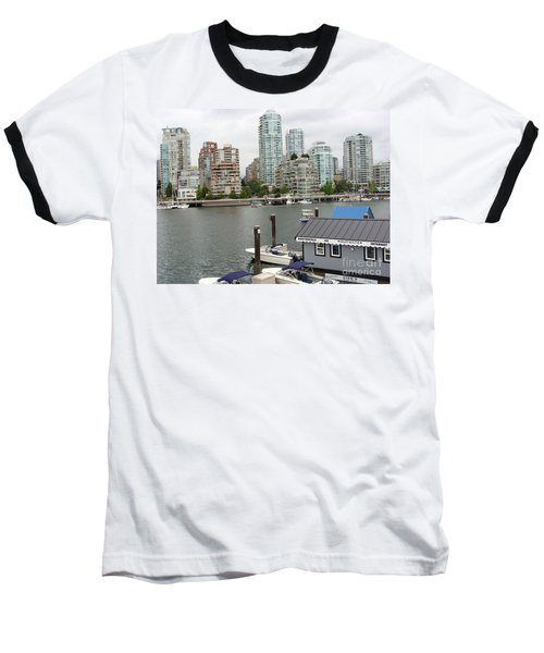 Baseball T-Shirt featuring the painting False Creek Vancouver by Rod Jellison