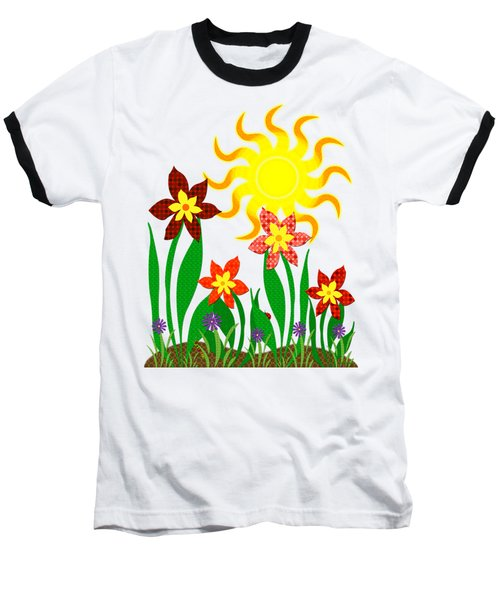 Fanciful Flowers Baseball T-Shirt by Shawna Rowe